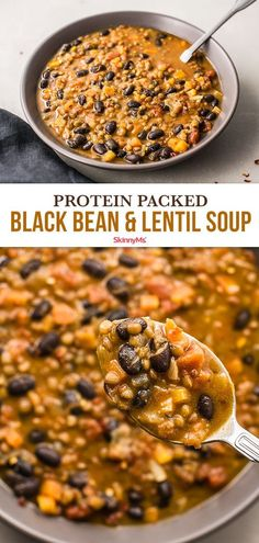 You'll love this protein-packed black bean and lentil soup. It's a great vegetarian recipe that will make Meatless Mondays even tastier. # Protein Black Bean and Lentil Soup Whole Food Recipes, Diet Recipes, Cooking Recipes, Healthy Recipes, Vegetarian Bean Recipes, Vegetarian Black Bean Soup, Chili Recipes, Lentil And Black Bean Soup Recipe, Vegan Black Bean Recipes