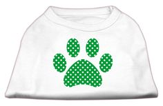 Green Swiss Dot Paw Screen Print Shirt White XS (8)