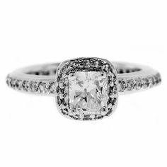 0.85 Cttw Cushion Cut Diamonds Solitaire Accents Engagement Ring in 14K White…