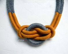 Items similar to Statement necklace - Wool necklace - Minimalist jewelry - Tweed light grey, saffron yellow - anniversary gif for woman. on Etsy - Statement necklace – Wool necklace – Minimalist jewelry – Tweed light grey, saffron yellow – - Premier Designs Jewelry, Handmade Jewelry Designs, Handmade Necklaces, Jewelry Knots, Jewelry Crafts, Beaded Jewelry, Geek Jewelry, Gothic Jewelry, Jewelry Necklaces