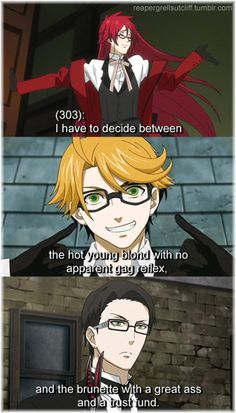 #blackbutler #kuroshitsuji funny Grell, Ronald & William