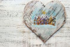 8' Christmas decoration wooden heart panel от HandyHappyHearts