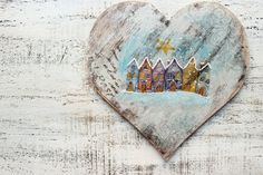 8' Christmas decoration wooden heart panel by HandyHappyHearts