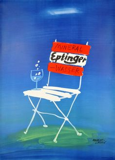 1950s Eptinger, Swiss mineral water vintage advert poster