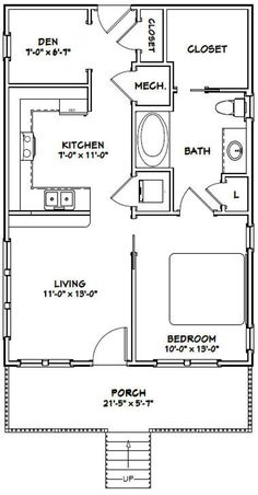 Female children's room: 65 inspirations and decoration projects - Home Fashion Trend One Bedroom House Plans, 1 Bedroom House, Cabin House Plans, Bedroom Floor Plans, Ranch House Plans, Craftsman House Plans, 20x40 House Plans, New House Plans, House Plan With Loft