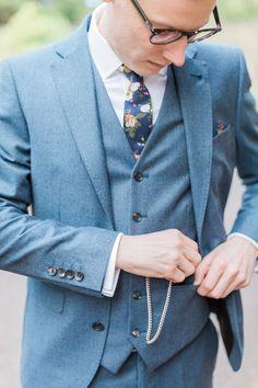 Groom in Next Three Piece Light Blue Suit - Katy Melling Photography | Vintage wedding at Eshott Hall, Northumberland | Rosa Clara Wedding Dress | Red Flowers