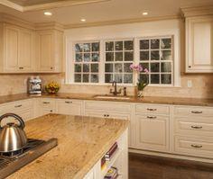 Cream cabinets in kitchen | Transitional Island Style Cream kitchen, cream cabinets, ... | kitchen