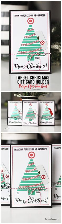 Darling Teacher Gift Card Holder for Christmas - perfect for a Target Gift Card! Grab it while it's still a FREE Printable! | Landeelu #christmasprintables #freechristmasprintables #christmascards #christmasgifttags #printablechristmascards #printablechristmasgifttags #christmaspapercrafts