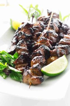 Thai Pork Satay with Peanut Dipping Sauce. Bits of marinated pork, skewered on sticks and grilled over hot coals. Served with a dipping sauce and hot rice. Grilling Recipes, Pork Recipes, Asian Recipes, Cooking Recipes, Healthy Recipes, Ethnic Recipes, Pork Satay, Barbecue Pork Ribs, Bbq