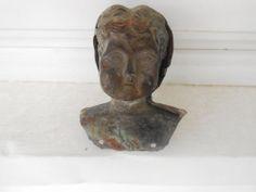 Antique Germany Tin Metal Doll Head MINERVA No. 2 Deponirt