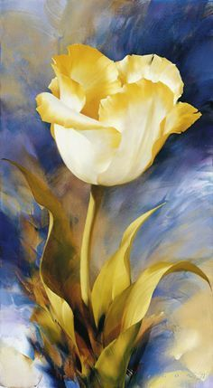 Best and easy Canvas Painting Ideas for Beginners canvaspaintingideas canvaspainting canvas canvasart Oil Painting Flowers, Watercolor Flowers, Watercolor Paintings, Tulip Painting, Oil Paintings, Watercolor Video, Amazing Paintings, Yellow Painting, Flower Paintings