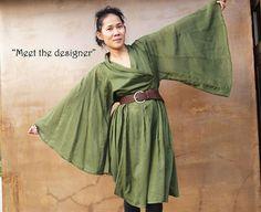Lotus...Autumn dress dark green mix silk one size by cocoricooo, $57.00