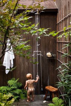 Lauren Liess | Pure Style Home Her outdoor shower outside her master bathroom is wonderful.  The kids love it as well!