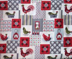 Charmant Cute, Cute Vintage Fabric! The Primary Colors Are Red, Gray And White,