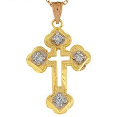 14k Yellow Gold White CZ 3.1cm Long Orthodox Religous Cross Charm Pendant Jewelry Liquidation. $163.77. Made in USA!. Made with Real 14k Gold!. Save 68% Off!