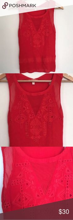 Stitch Fix Skies are Blue red embroidered top Gorgeous red sleeveless top by Skies are Blue. Stitch Fix brand. EUC. Perfect for holiday layering. Beautiful red color and embroidered detail on front. Tags: Jewel tone ruby hobo shell detailed date night girls night out Skies Are Blue Tops