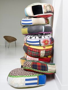 Patchwork cushions / fabric scrap recycling
