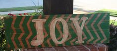 Chevron JOY wooden sign by GraceFlowsFreely on Etsy, $30.00