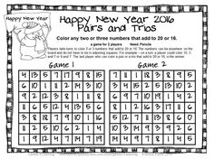 FREEBIES - New Years 2016 Math Games is a set of 4 math board games by ...