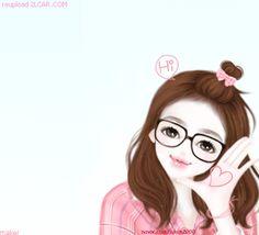 Gambar Kartun Korea Wanita Cantik Berkacamata
