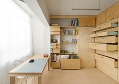 Interior Space Saving Studio Pegboard Wooden Furniture Interior Ideas Wooden Table Design Living And Working Spaces Wooden Storage Units: Modular Artist's Studio Ranking High in Functionality by Raanan Stern Micro Apartment, Apartment Design, Studio Apartment, Small Space Living, Small Spaces, Living Spaces, Folding Beds, Tel Aviv, Built In Storage