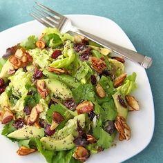 Cranberry-Avocado Salad w/ Candied Almonds & Sweet White Balsamic Vinaigrette