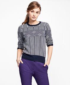 f80a518e901c Merino Wool Graphic Jacquard SweaterNavy-White Brooks Brothers