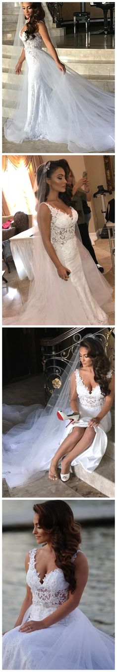 Bohoprom 2 in 1 lace white elegant wedding dress, made of lace and decorated with beaded appliques, 2 in 1 wedding dress, fall wedding dress, wedding dress tulle, elegant wedding dress, modern wedding dress, romantic wedding dress, wedding dress 2018, white wedding dress, wedding dress ivory, #2in1 #weddingdrss #bridaldress #bohoprom