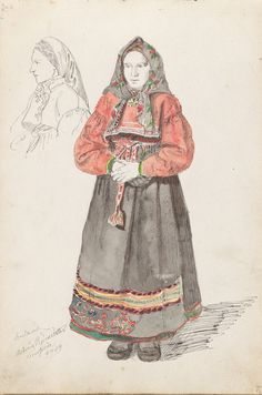 Folk Costume, Costumes, Traditional Outfits, Norway, American Girl, Culture, Embroidery, Country, Fashion Design
