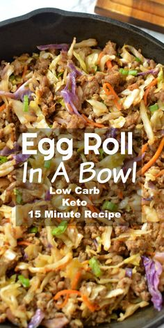 Low Carb Egg Roll In A Bowl - Classic egg roll taste neatly served in a bowl without all the carbs! Perfect low carb dinner recipe that everyone will enjoy! Diet Low Carb Egg Roll In A Bowl Healthy Low Carb Recipes, Low Carb Dinner Recipes, Easy Appetizer Recipes, Diet Recipes, Cooking Recipes, Diabetic Food Recipes, Quick Food Recipes, Low Carb Quick Dinner, Recipes