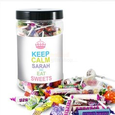Personalised Keep Calm Candy Colours Large Sweet Jar  from Personalised Gifts Shop - ONLY £14.95