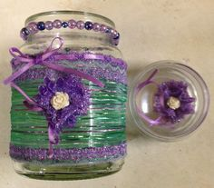 decorated Jar Moccona jar, scraps of ribbons, lace, beads n buttons, Don't forget to put a decoration inside the lid