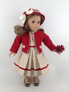 CUSTOM FOR S.M. *** 1930's American Girl 18-inch Doll Clothes - Dress, Jacket…