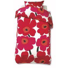 Unikko pussilakana ja tyynyliina, punainen