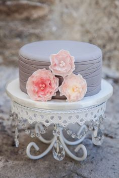 Pretty gray and pink wedding cake | Cakes by The Cake Box