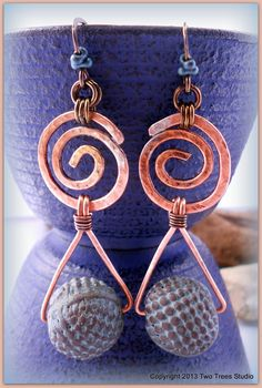 One-of-a-kind earrings, mythic and ancient, in hammered copper and artisan claywork beads by BH Claysmith, by TwoTreesStudio, $42.00.
