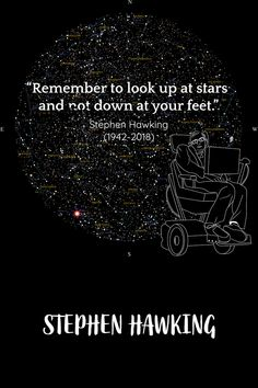 """Get your free commemorative star map, our tribute to Stephen Hawking at https://greaterskies.com/stephen-hawking-star-map/ Stephen Hawking quote - """"Remember to look up at the stars and not down at your feet. Try to make sense of what you see and wonder about what makes the universe exist. Be curious. And however difficult life may seem, there is always something you can do and succeed at. It matters that you don't just give up."""" An inspirational man, rest in peace."""
