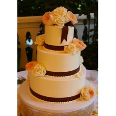Buttercream Frosted Wedding Cake 3 Tier Roses
