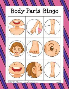 Body Parts Bingo - Gift of Curiosity Body Parts Preschool Activities, Body Preschool, English Activities, Toddler Learning Activities, Kids Learning, Listening Activities, Learning Spanish, Body Parts For Kids, Human Body Parts