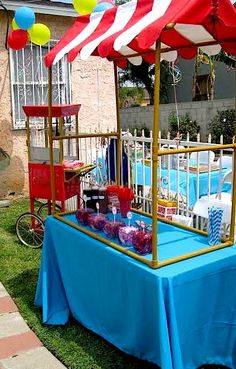 Carnival Birthday party theme- I love the ice cream sundae booth! Lots of great party ideas here!