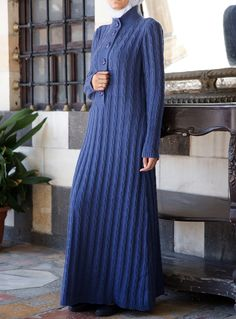 The big buttons keep this long dress casual. Shukr #islamic clothing
