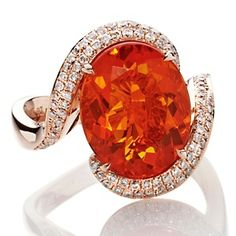 LOVE...Rarities: Fine Jewelry with Carol Brodie 4.72ct Fire Opal and Diamond 14K Rose Gold Ring at HSN.com.