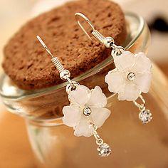 Klassieke witte Diamanted Flower Drop Oorbellen (1 Paar) – EUR € 2.75