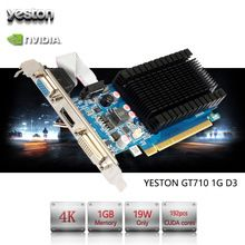 US $44.92 Yeston GeForce GT 710 GPU 1GB GDDR3 64 bit Gaming Desktop computer PC Video Graphics Cards support PCI-E X8 2.0. Aliexpress product