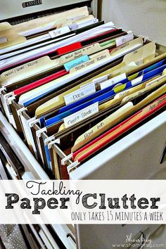 How to get rid of paper clutter.  Only take 15 minutes a week to clean it up.