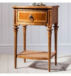 Coming from is this gorgeous bedside table, it is crafted from Mindy Ash solid wood, features blonde European walnut and American walnut inlays. Walnut Furniture, Barrel Furniture, Walnut Veneer, Walnut Wood, Pair Of Bedside Tables, Antique Wax, Bedside Cabinet, American Walnut, French Antiques