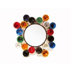 Love this unusual recycled paint pot mirror, such a fun and colourful design. Recycled Mirrors, Recycled Art, Vintage Mirrors, Round Wall Mirror, Painted Pots, Plastic Bottles, Bunt, Vintage Designs, Home Accessories