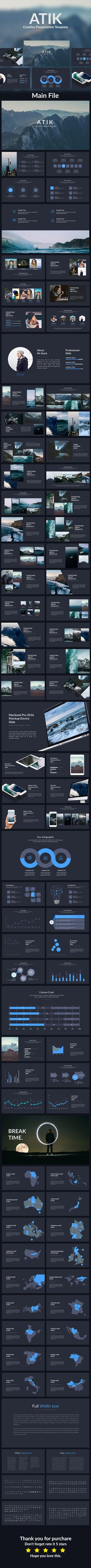 Atik - Creative Powerpoint Template - Creative #PowerPoint #Templates Download here: https://graphicriver.net/item/atik-creative-powerpoint-template/19413636?ref=alena994