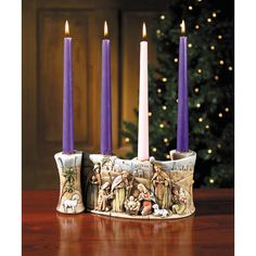 A nativity scene and Advent wreath in one - great for small spaces!