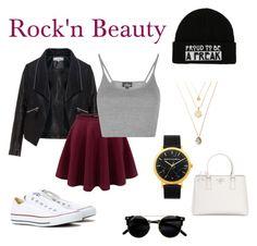 """Rock'n Beauty"" by katherine-macedo on Polyvore featuring Belleza, Zizzi, Topshop, Converse y Prada"